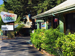 Front office, Cedar Lodge Motel in Dunsmuir, California